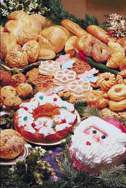 Bread and desserts with Santa cake