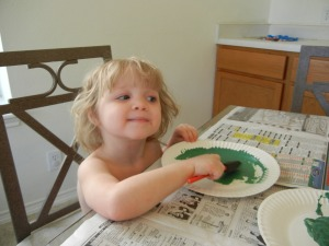 Lexie at age 3 - doing crafts in just her underwear.