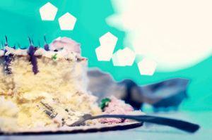 Fork in slice of birthday cake