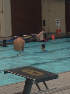Jase (middle of pool) getting instructions.