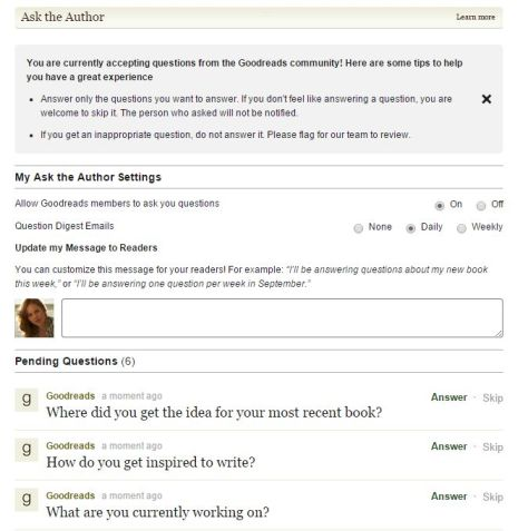 goodreads ask the author